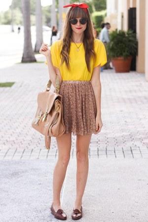 mustard romwe skirt - yellow Tea and Tulips blouse