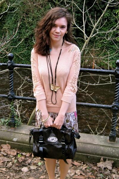 Mulberry bag - Topshop skirt - Topshop jumper