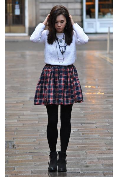 American Apparel skirt - Topshop boots - H&M Trend jumper