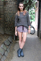 gray wool vintage jumper - charcoal gray H&M boots