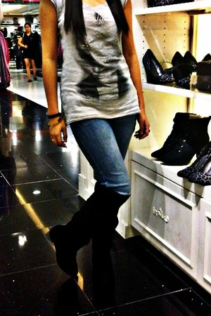 black Forever 21 boots - blue Guess jeans - heather gray Penshoppe shirt