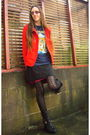 Red-h-m-blazer-blue-iron-maiden-t-shirt-black-jeffrey-campbell-boots-blue-
