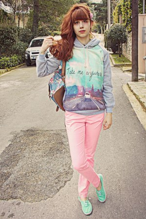 violet floral backpack romwe bag - salmon H&M pants - aquamarine H&M sneakers