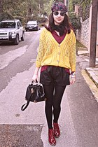 light yellow VJ Style cardigan - maroon boots - black Chicwish bag