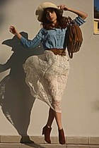 ivory lace Chicwish skirt - burnt orange boots - ivory hat