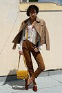 Tan-stradivarius-jacket-mustard-lulus-bag-burnt-orange-loafers-brown-pants