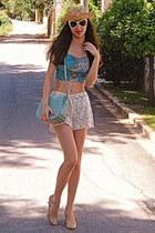 ivory crochet Chicwish shorts - light yellow hat - aquamarine bag