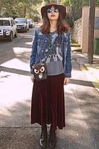 crimson velvet Chicwish skirt - black boots - navy denim frayed jacket