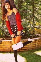 white vintage bag - black shorts - white Tally Weijl flats - ruby red cardigan -