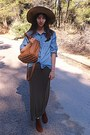 Brown-h-m-boots-camel-h-m-hat-sky-blue-denim-stradivarius-shirt