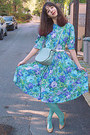 Violet-floral-ebay-vintage-dress-aquamarine-tights-aquamarine-lulus-bag