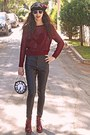 Dark-gray-leather-pop-couture-pants-maroon-boots-black-beret-hat