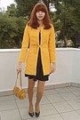 Black-dress-mustard-romwe-coat-mustard-tights-yellow-romwe-necklace