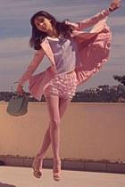 light pink romwe coat - light pink tights - aquamarine bag