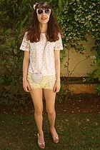 white heart studded romwe bag - light yellow lace OASAP shorts