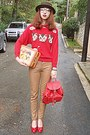 Dark-brown-romwe-hat-red-cat-romwe-sweater-red-backpack-bag
