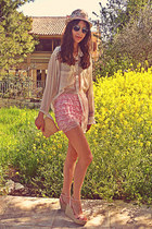 ivory floral hat - light pink lace OASAP shorts - romwe sunglasses