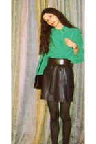 gray leather vintage skirt - army green tights - black Kem purse