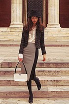 black houndstooth Zara skirt - black hat - black Zara jacket - white vintage bag