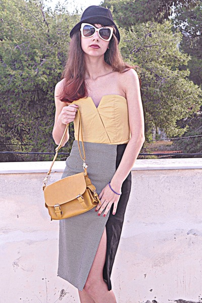 black houndstooth Zara skirt - light yellow threadsence dress - black hat
