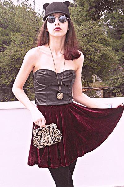 maroon velvet romwe skirt - maroon boots - black cat ears romwe hat