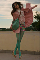 light pink romwe coat - aquamarine tights - aquamarine bag