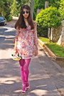 Light-yellow-paisley-romwe-dress-magenta-tights-light-yellow-diy-purse