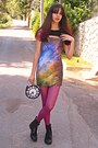 Lime-green-galaxy-chicwish-dress-black-boots-magenta-tights