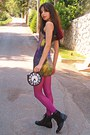 Black-boots-lime-green-galaxy-chicwish-dress-magenta-tights