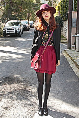 black romwe blazer - black oxfords new look boots - maroon H&M hat