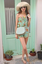 aquamarine shell print AX Paris romper - aquamarine bag