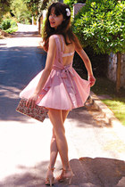 light pink romwe dress - eggshell floral Accessorize bag - eggshell Zara heels