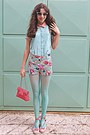 Aquamarine-floral-romwe-shorts-aquamarine-oasap-shirt-salmon-bag