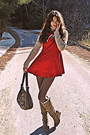 beige turtleneck jumper - light brown boots - brick red romwe dress