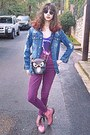 Black-romwe-sunglasses-bubble-gum-oasap-boots-magenta-high-waisted-jeans