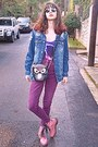 Bubble-gum-oasap-boots-magenta-high-waisted-jeans-black-owl-bag