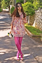 light yellow paisley romwe dress - magenta tights - light yellow DIY purse