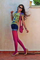 magenta new look tights - hot pink longchamp bag - navy shorts - chartreuse flor