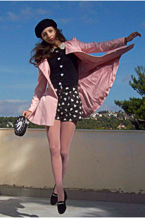 black beret H&M hat - light pink romwe coat - black clock DIY bag - black shorts