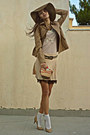 nude polka dot skirt - camel H&M hat - camel Stradivarius jacket