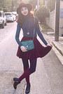 Black-studded-h-m-boots-maroon-h-m-hat-teal-bag
