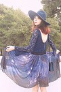 Violet-starry-romwe-skirt-navy-lace-zara-dress-navy-zara-hat