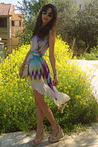 aquamarine dress - amethyst Sugarlips dress - gold vintage bag