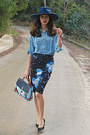Black-romwe-dress-navy-zara-hat-sky-blue-denim-stradivarius-shirt