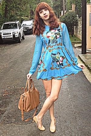 sky blue floral romwe dress - neutral Steve Madden heels