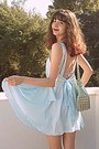 Light-blue-romwe-dress-aquamarine-lulus-bag