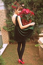 forest green velvet Chicwish dress - black tights - red Ebay heels