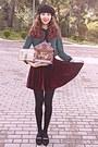 Black-beret-hat-black-tights-crimson-velvet-romwe-skirt