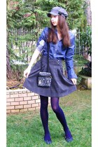 blue Tommy Hilfiger shirt - navy Calzedonia tights - heather gray Tous purse - h