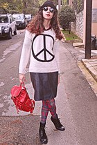 white peace sign romwe sweater - black boots - green tartan tights